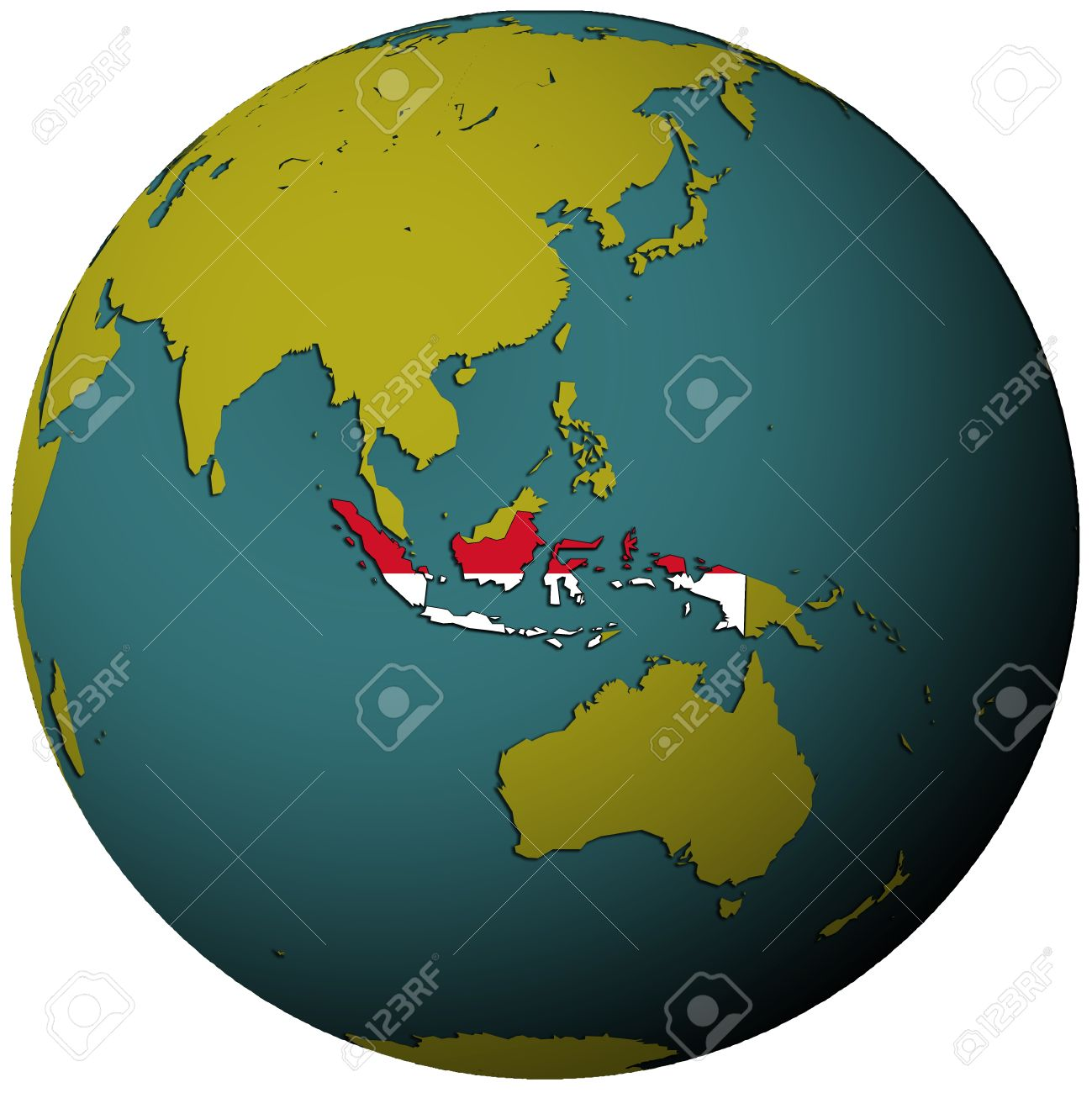 Indonesia Territory With Flag On Map Of Globe Stock Photo, Picture