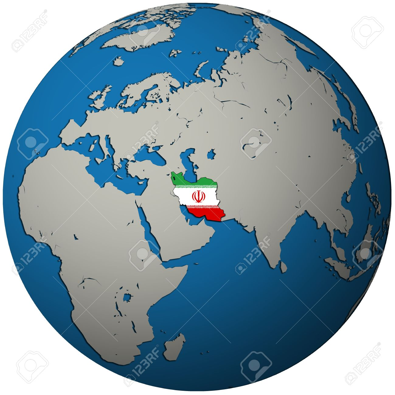 Iran Territory With Flag On Map Of Globe Stock Photo, Picture And