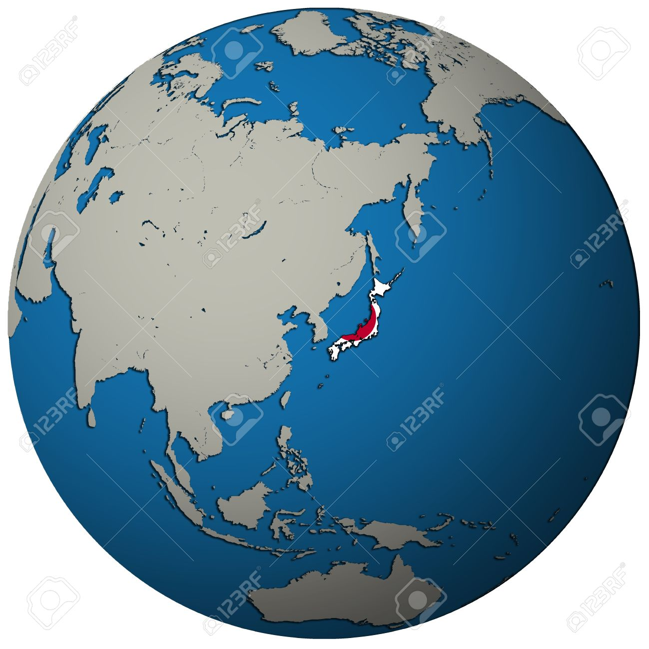Japan Territory With Flag On Map Of Globe Stock Photo Picture And - Map of globe