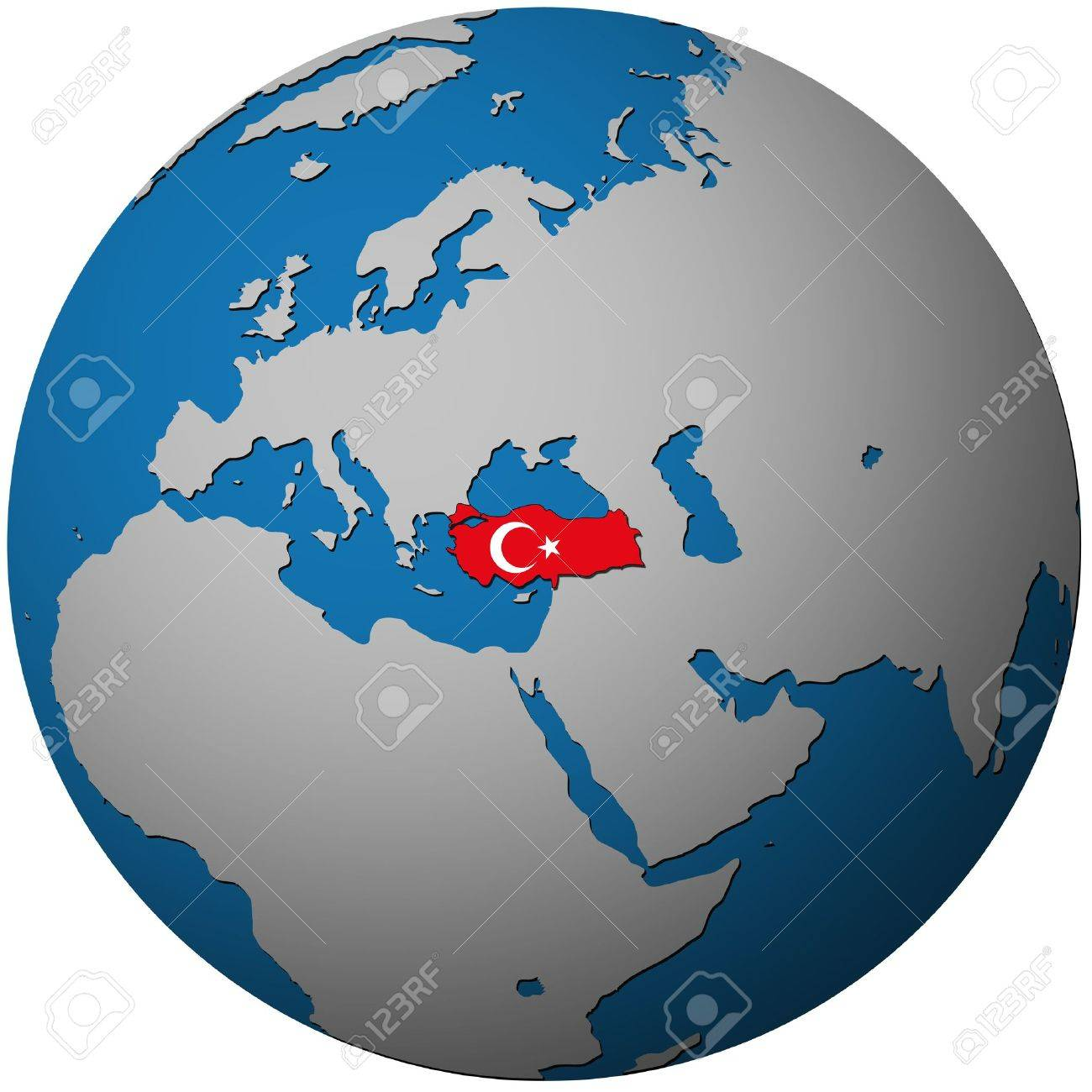 Turkey Territory With Flag On Map Of Globe Stock Photo Picture - Map of globe