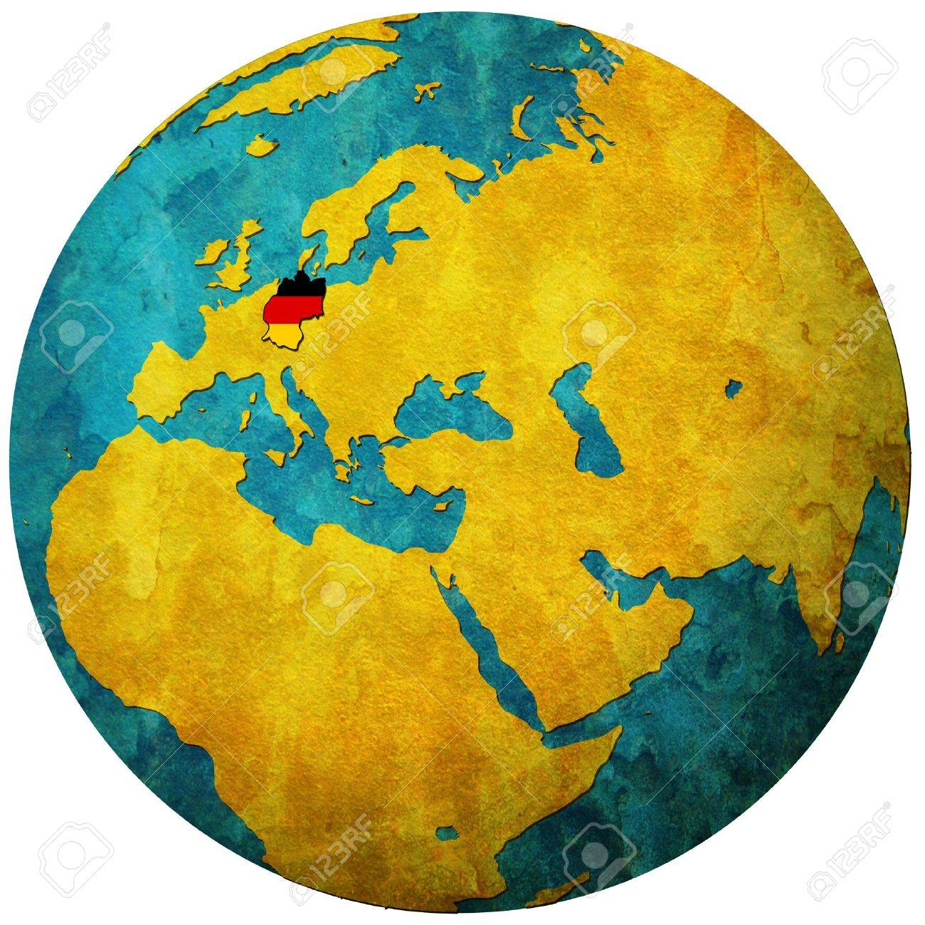Germany Territory With Flag On Map Of Globe Stock Photo Picture And