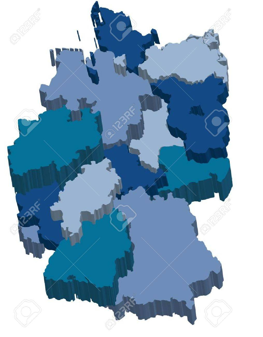 Administration Map Of Germany With 3d Regions In Cold Colors – Map of German Regions