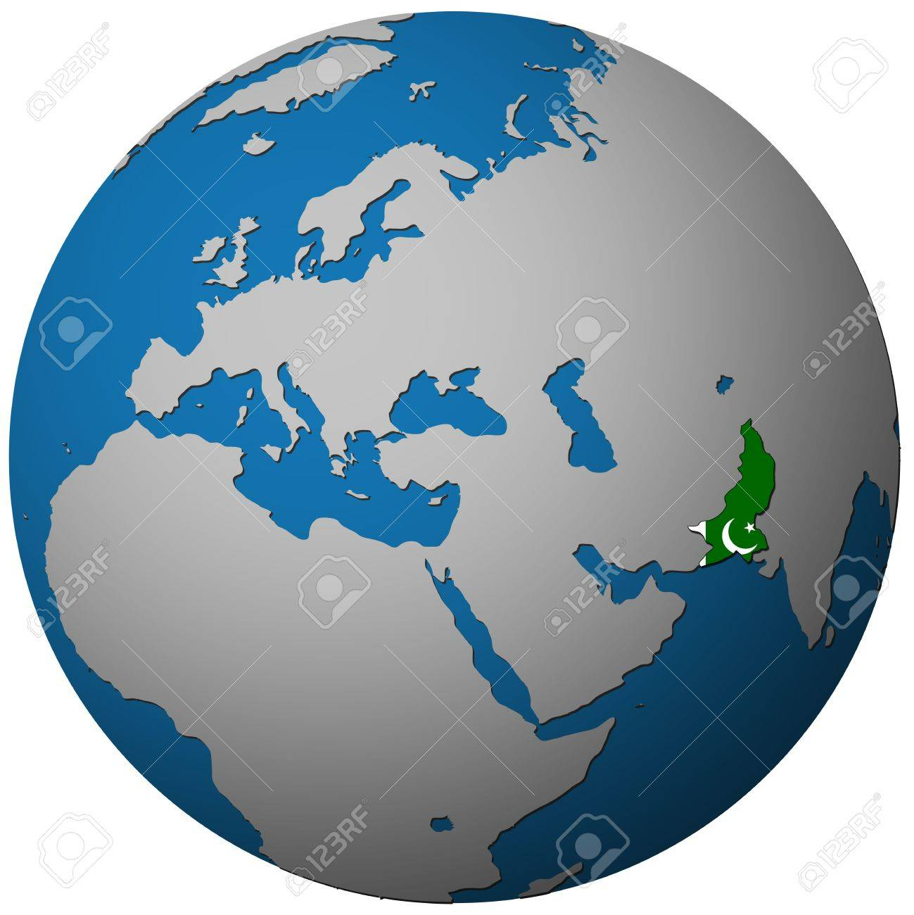 Pakistan Territory With Flag On Map Of Globe Isolated Over White - Map of globe