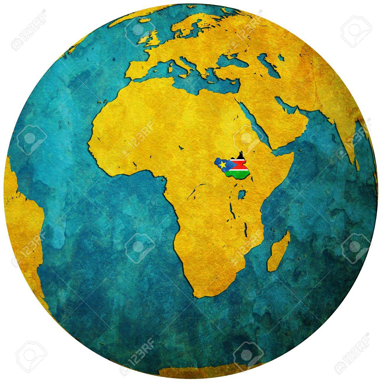 South Sudan Territory With Flag On Map Of Globe Stock Photo - Map of globe