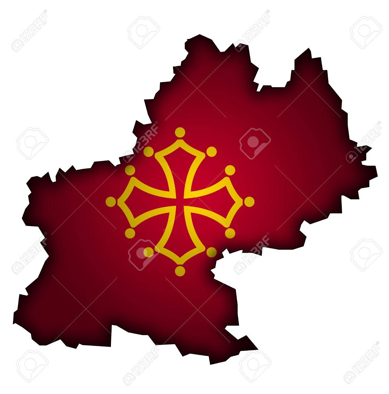 old map with flag of department, administrative region of france called midi pyrenees Stock Photo - 11495712