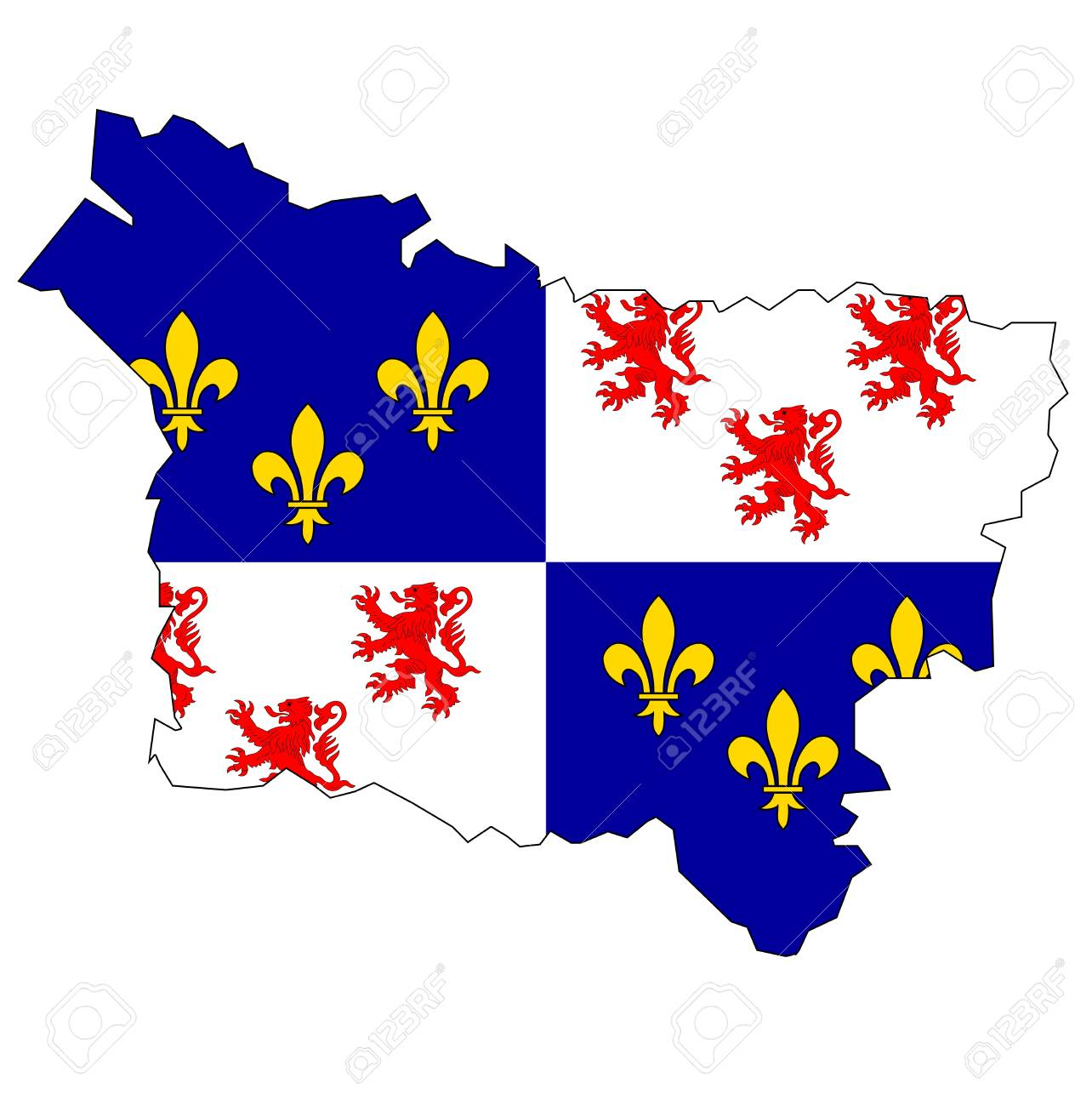Old Map With Flag Of Department Administrative Region Of France Stock Photo Picture And Royalty Free Image Image 11495979