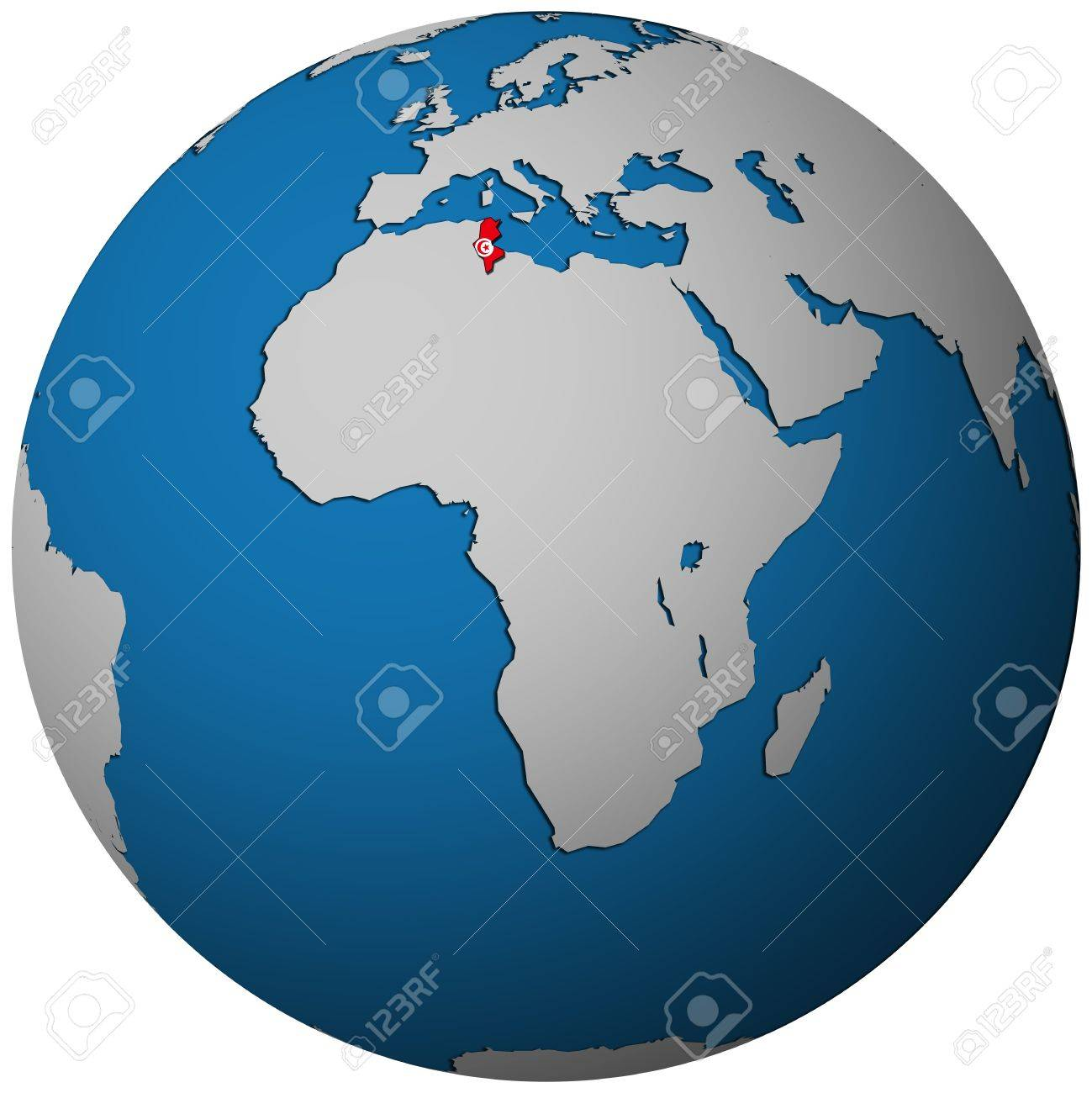 Tunisia Territory With Flag On Map Of Globe Stock Photo Picture - Tunisia earth map