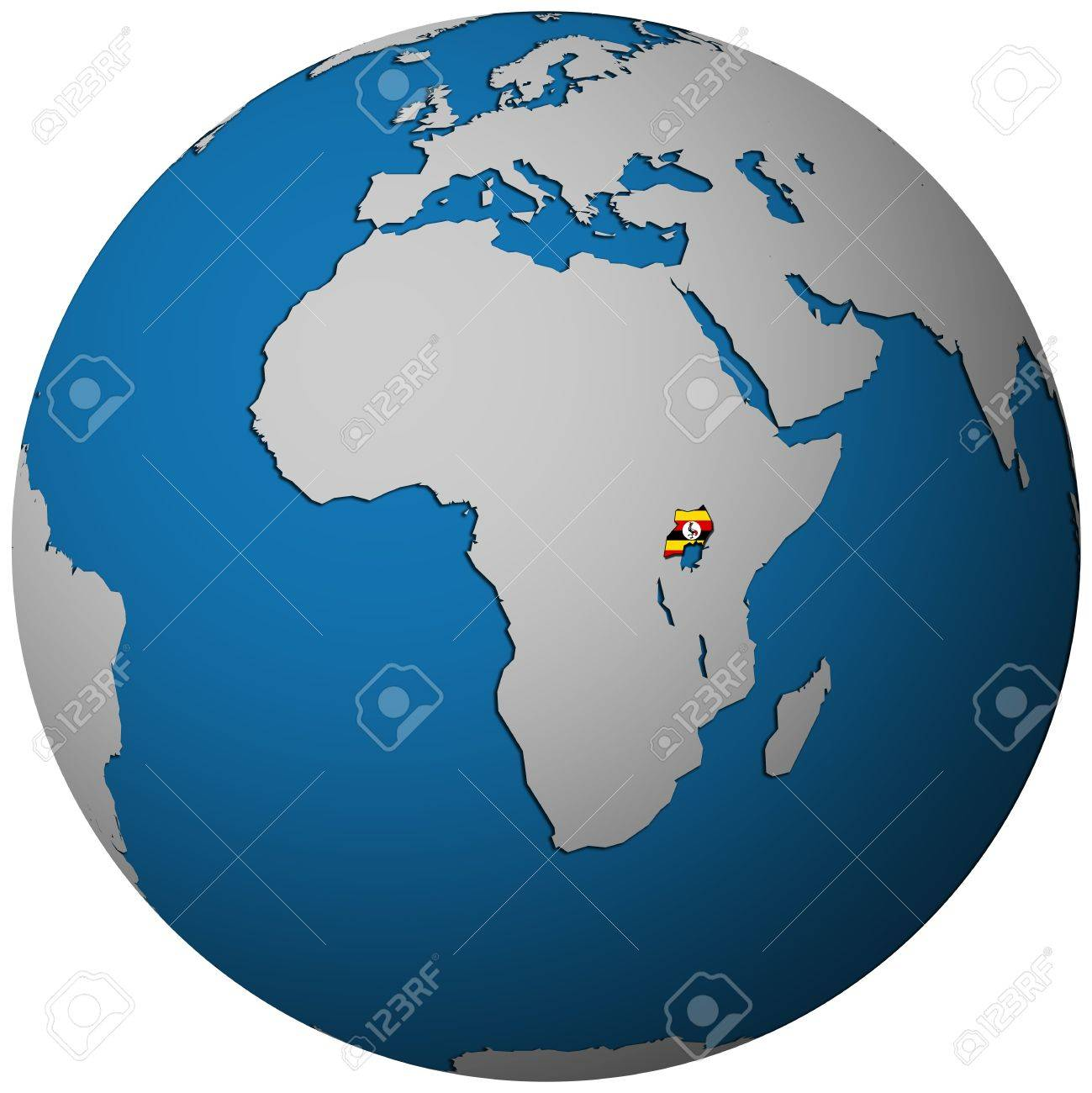 Uganda Territory With Flag On Map Of Globe Stock Photo Picture - Map of globe