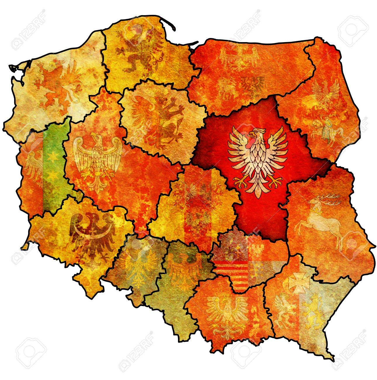 Masovian Region On Administration Map Of Poland With Flags Of