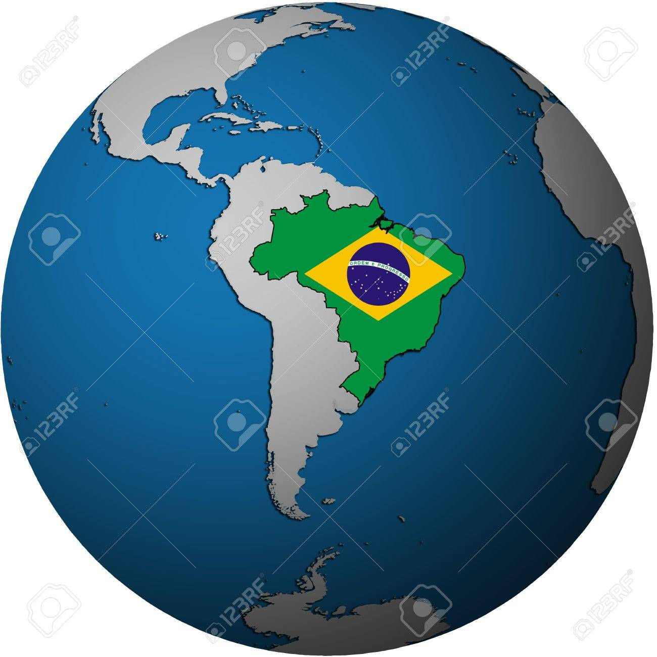 Map With Flag Of Brazil On Isolated Over White Map Of Globe Stock Photo Picture And Royalty Free Image Image 16024794
