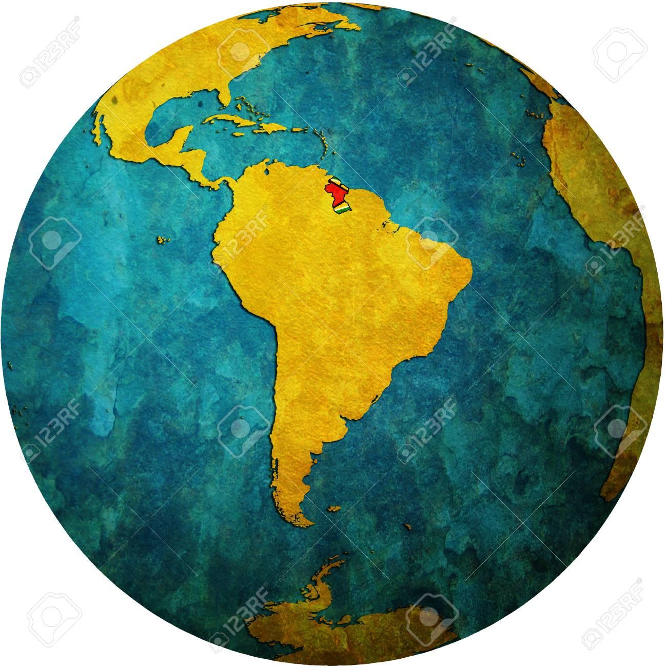 Karte Mit Flagge Von Guyana An Isolierten über Weiße Karte Welt