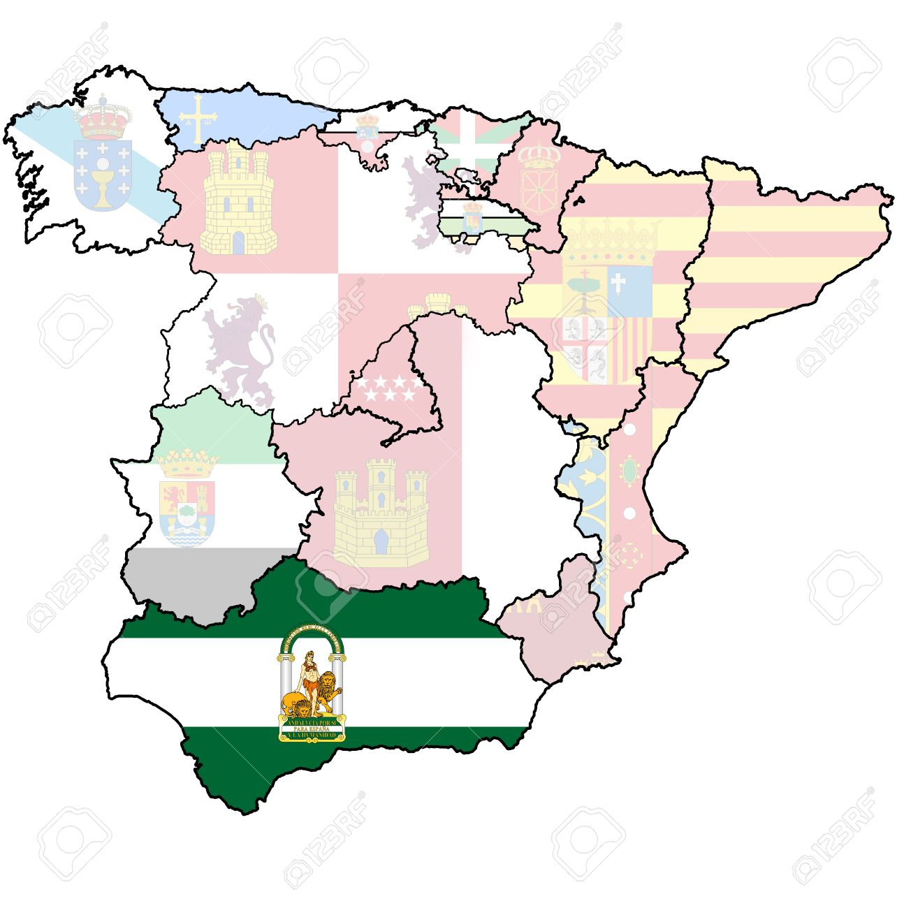Andalucia On Map Of Spain.Andalucia Region On Administration Map Of Regions Of Spain With