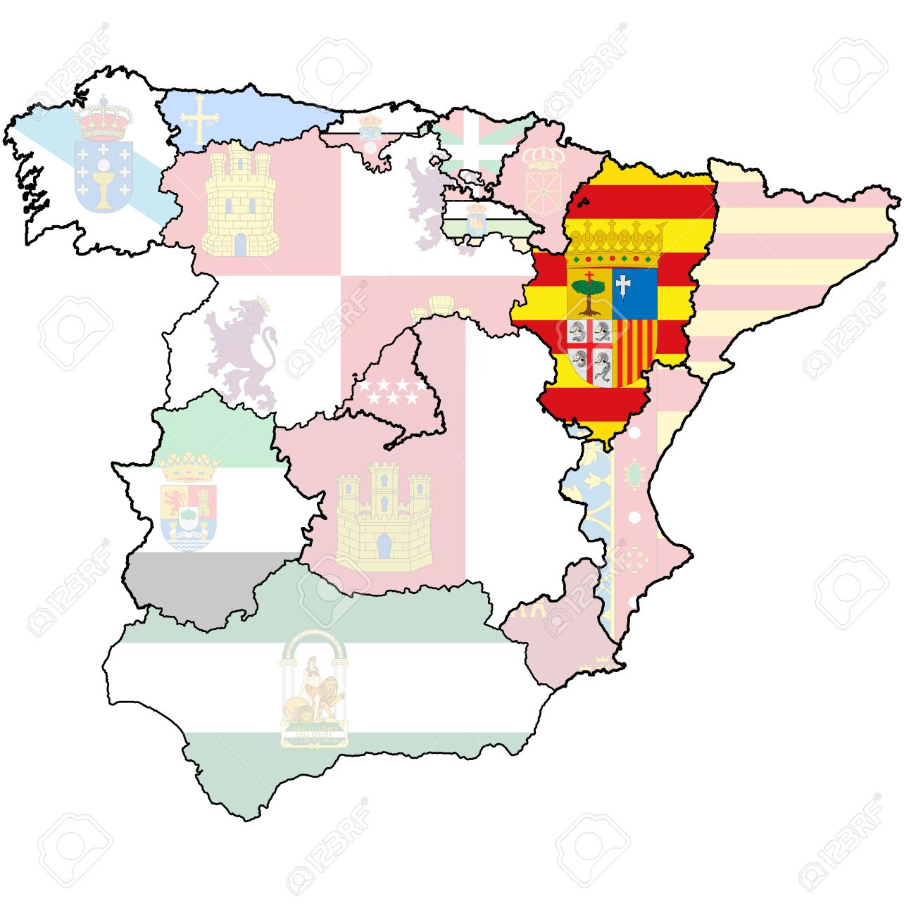 Aragon Region On Administration Map Of Regions Of Spain With Stock