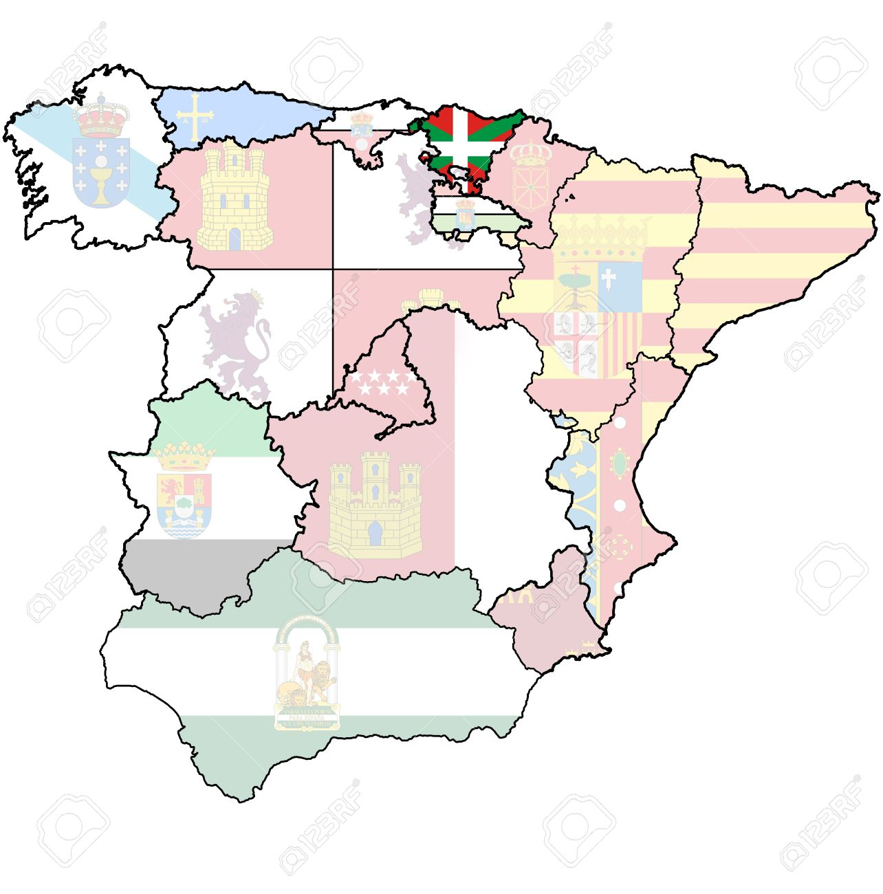 Basque Map Of Spain.Basque Country Region On Administration Map Of Regions Of Spain