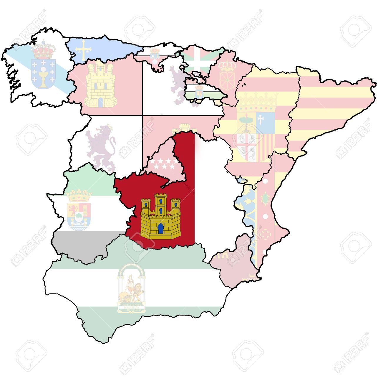 Map Of Spain La Mancha.Castille La Mancha Region On Administration Map Of Regions Of