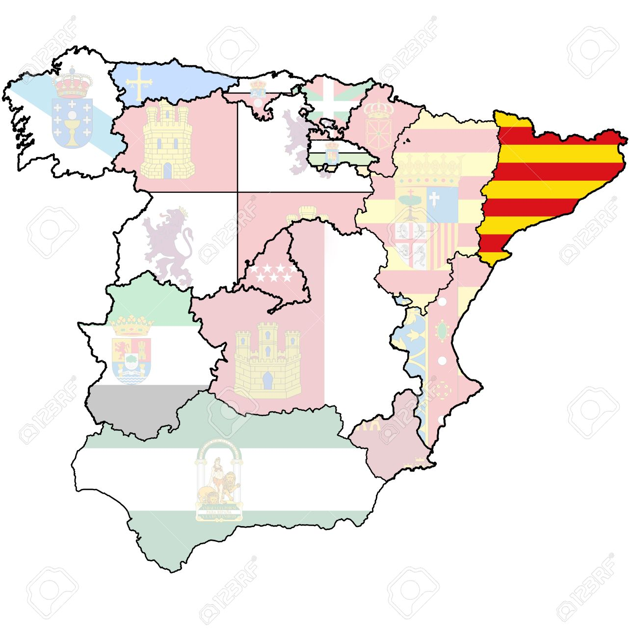 Catalonia Region On Administration Map Of Regions Of Spain With