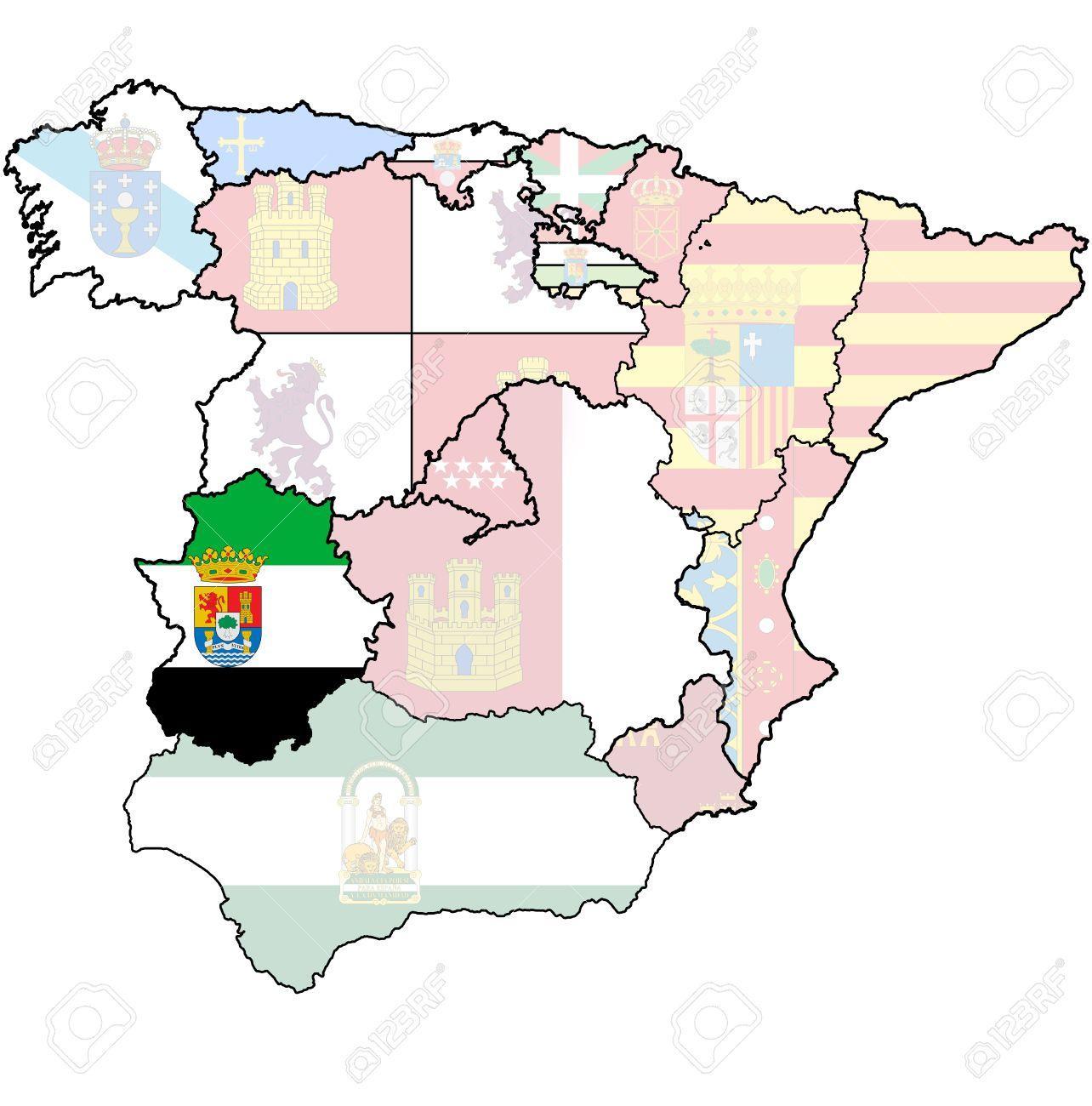 Estremadure Espagne Carte.Region D Estremadure Sur Une Carte Administration Des Regions De L Espagne Avec Des Drapeaux Et Des Emblemes