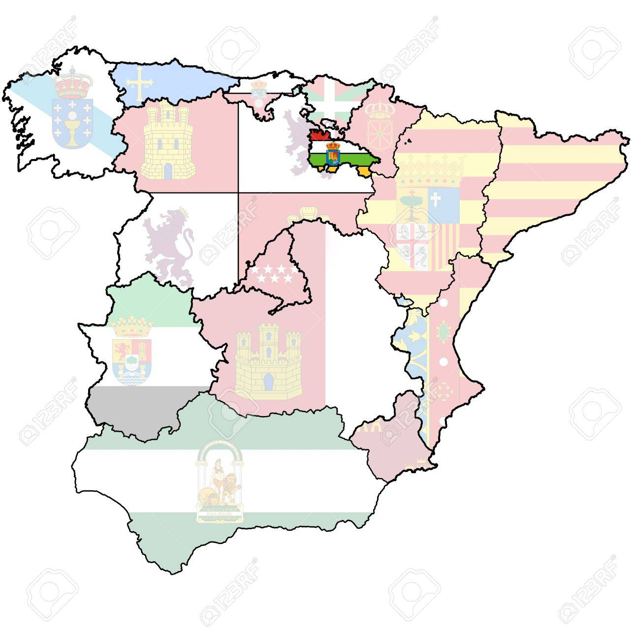 la rioja region on administration map of regions of spain with flags and emblems Stock Photo - 16551316