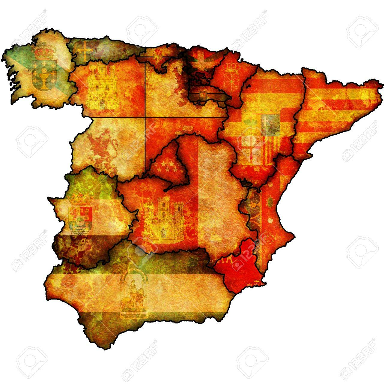 Murcia Map Of Spain.Murcia Region On Administration Map Of Regions Of Spain With