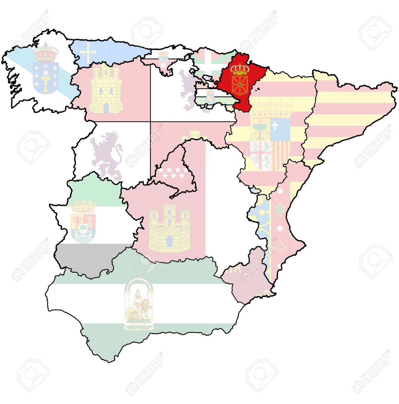 Map Of Spain By Region.Navarre Region On Administration Map Of Regions Of Spain With