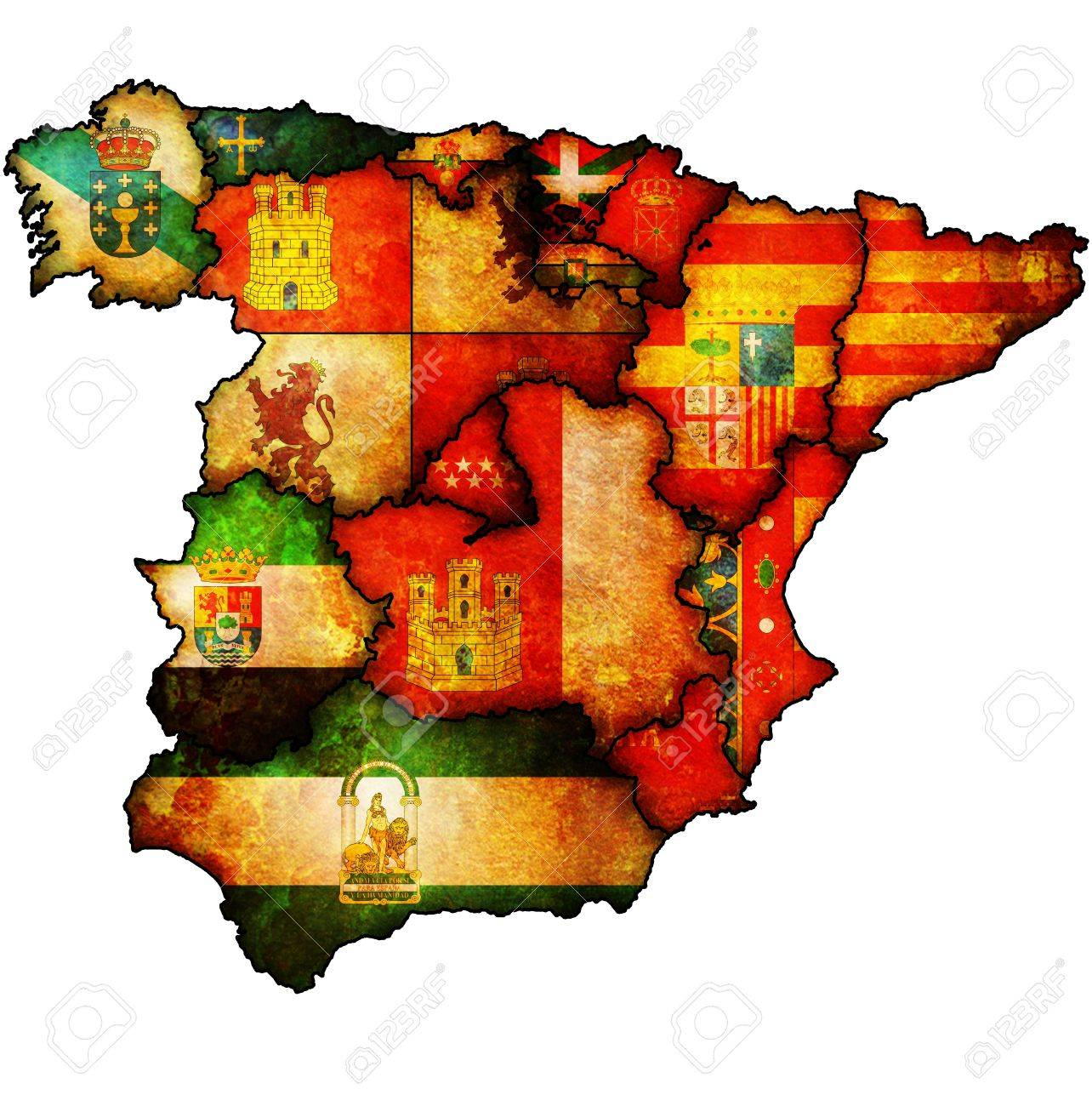 Administration Map Of Regions Of Spain With Flags And Emblems Stock ...