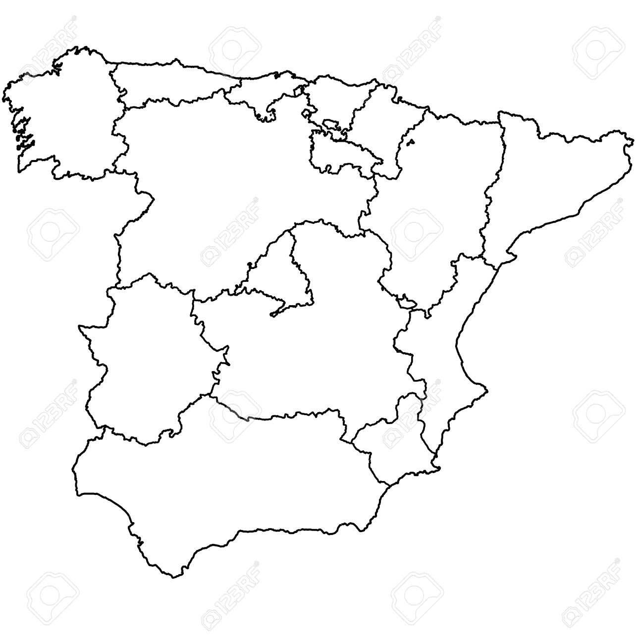 Regions Of Spain On Administration Map With Borders Stock Photo - Spain regions map
