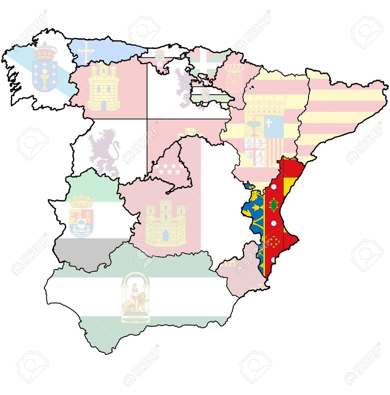 Valencia Region On Administration Map Of Regions Of Spain With