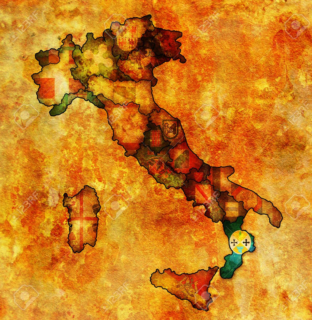 Map Of Italy Calabria Region.Calabria Region On Administration Map Of Italy With Flags Stock