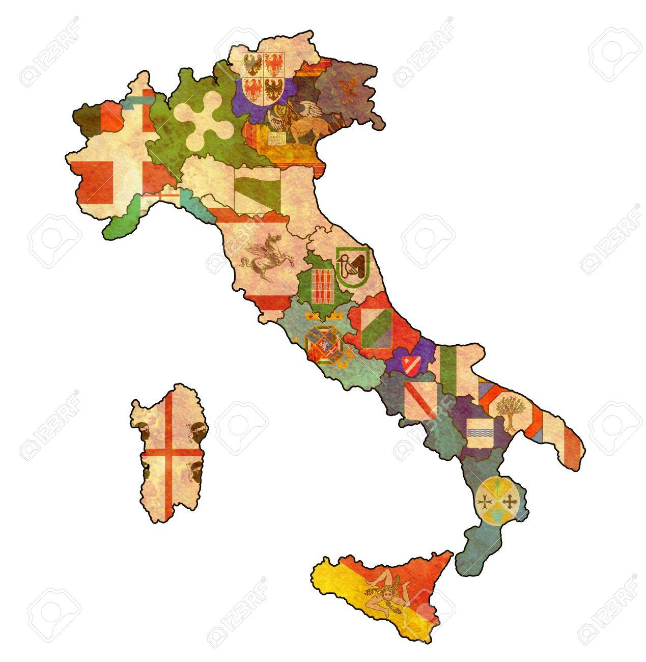 All Regions On Administration Map Of Italy With Flags Stock Photo - Italy map regions