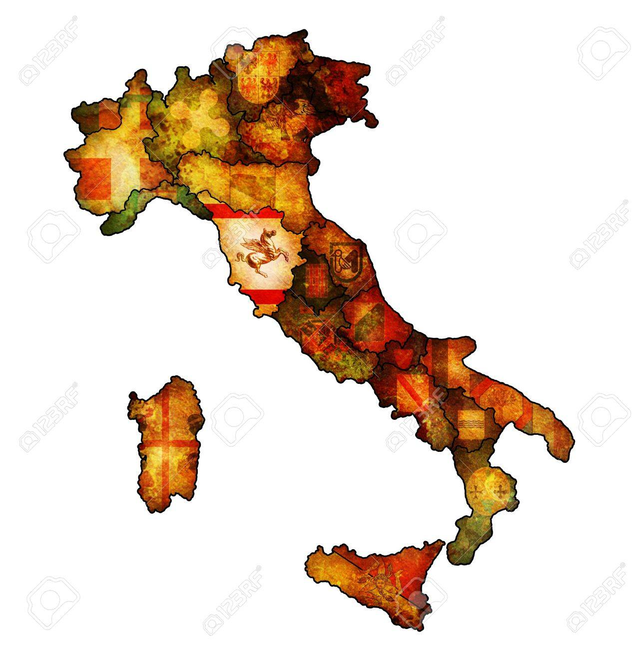 Map Of Italy Tuscany Region.Tuscany Region On Administration Map Of Italy With Flags