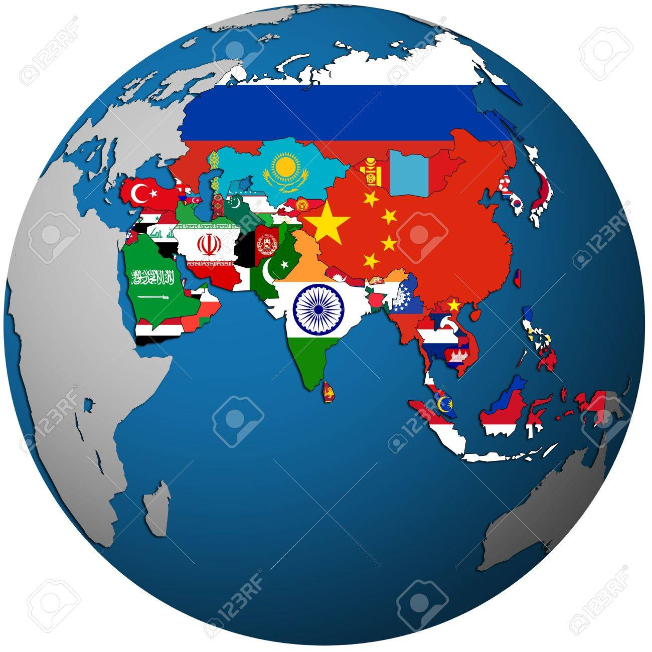 Isolated Over White Territories Of Asian Countries With Flags - Globe map with countries
