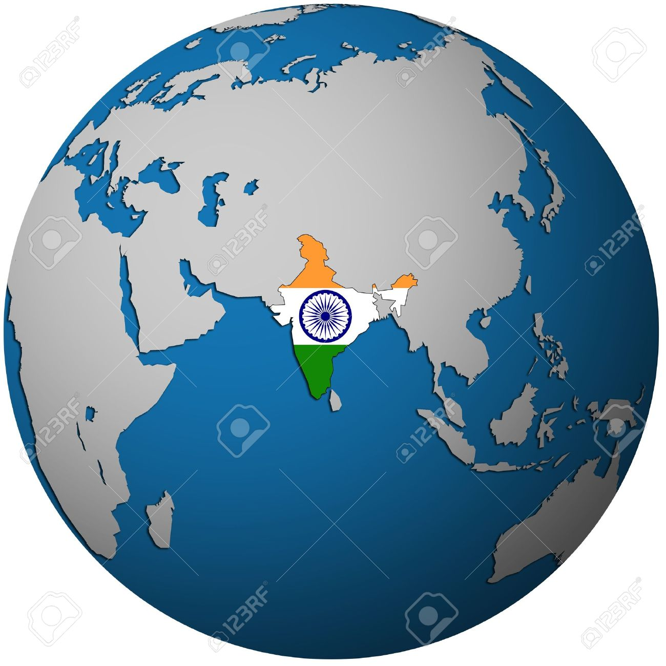 India On A Map Of The World.Isolated Over White Territory Of India With Flag On Globe Map Stock