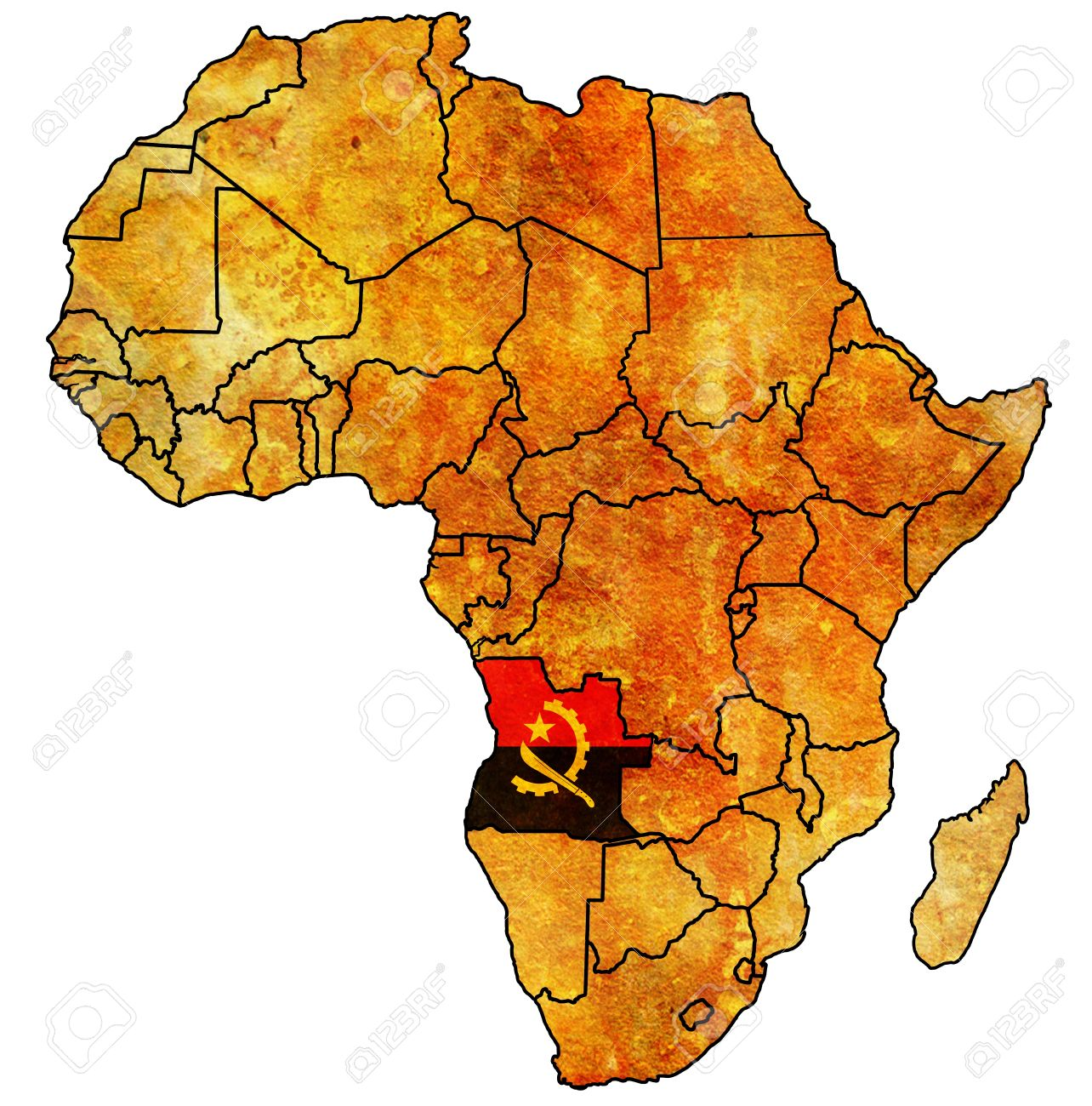 Africa Map Angola.Angola On Actual Vintage Political Map Of Africa With Flags Stock
