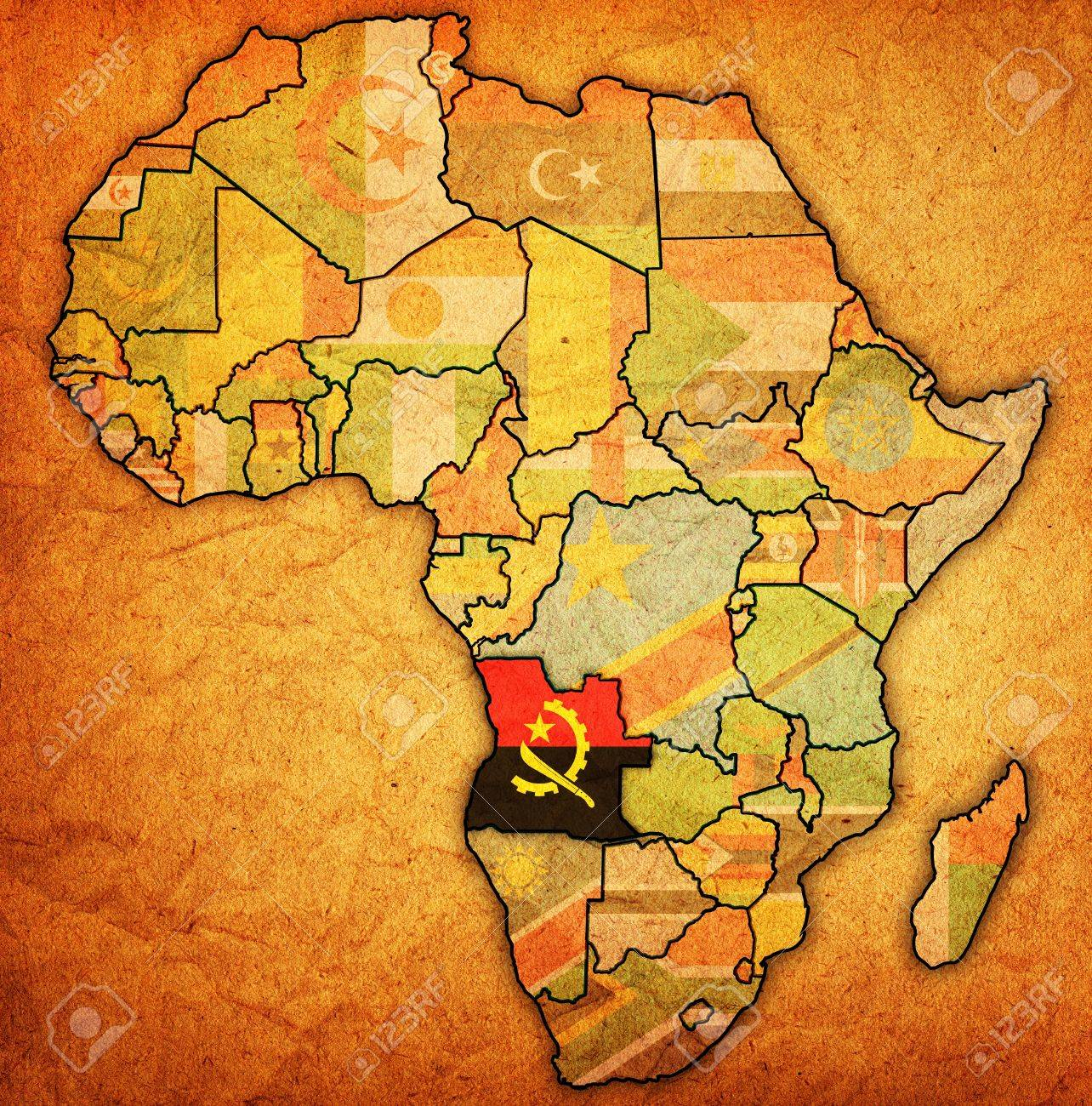 Angola On Actual Vintage Political Map Of Africa With Flags Stock Photo    20531898