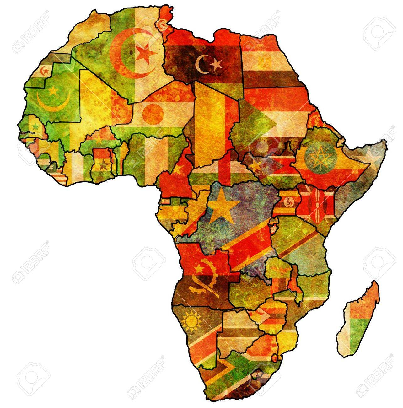 African Union Map.African Union On Actual Vintage Political Map Of Africa With