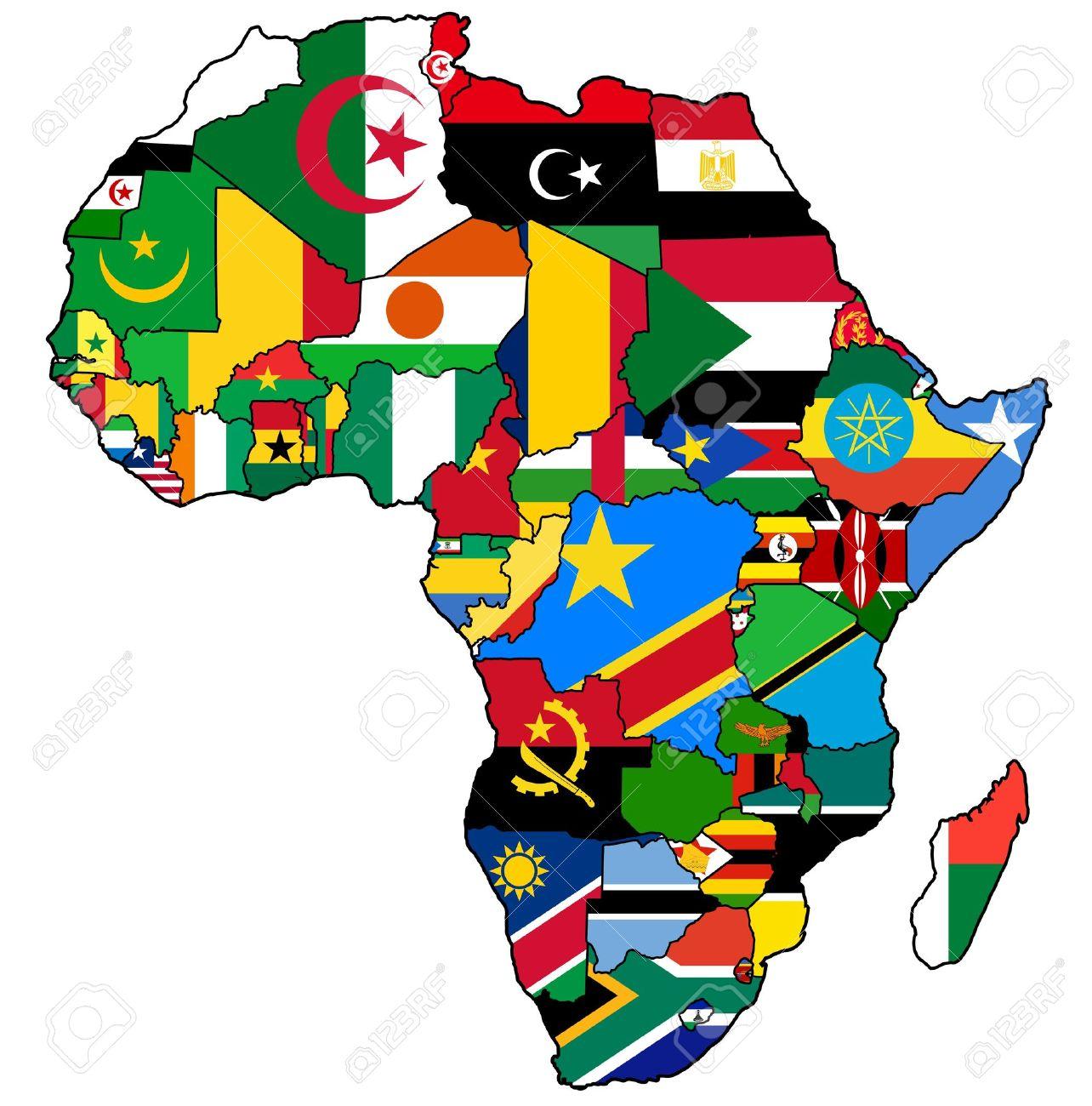 Carte Union Africaine.Union Africaine Sur La Carte Politique Reelle Millesime De L Afrique Avec Des Drapeaux