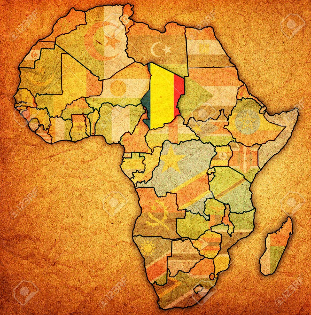 Chad On Actual Vintage Political Map Of Africa With Flags Stock