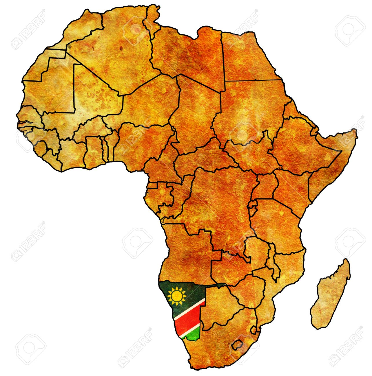 Namibia On Actual Vintage Political Map Of Africa With Flags Stock