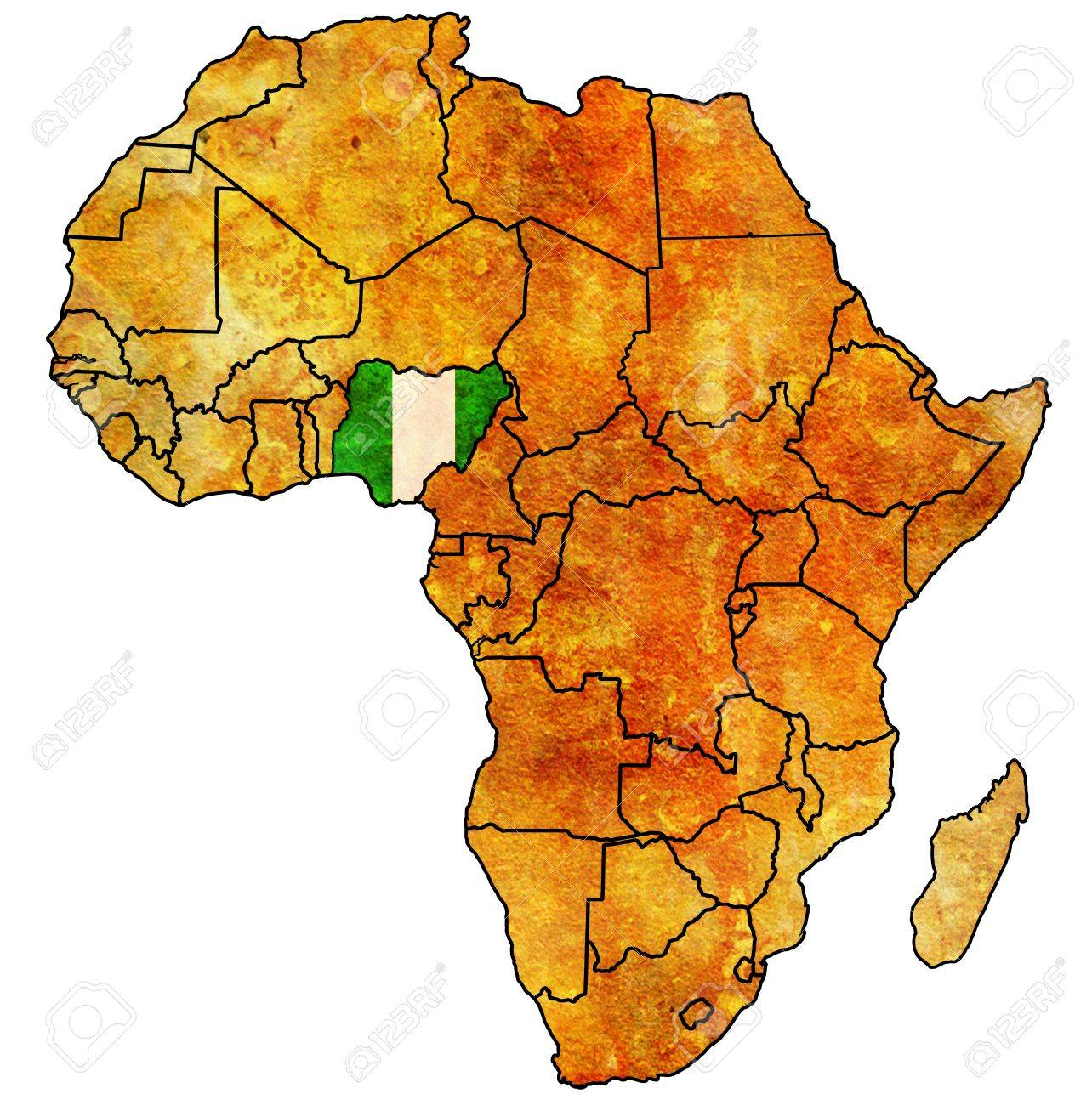nigeria on actual vintage political map of africa with flags