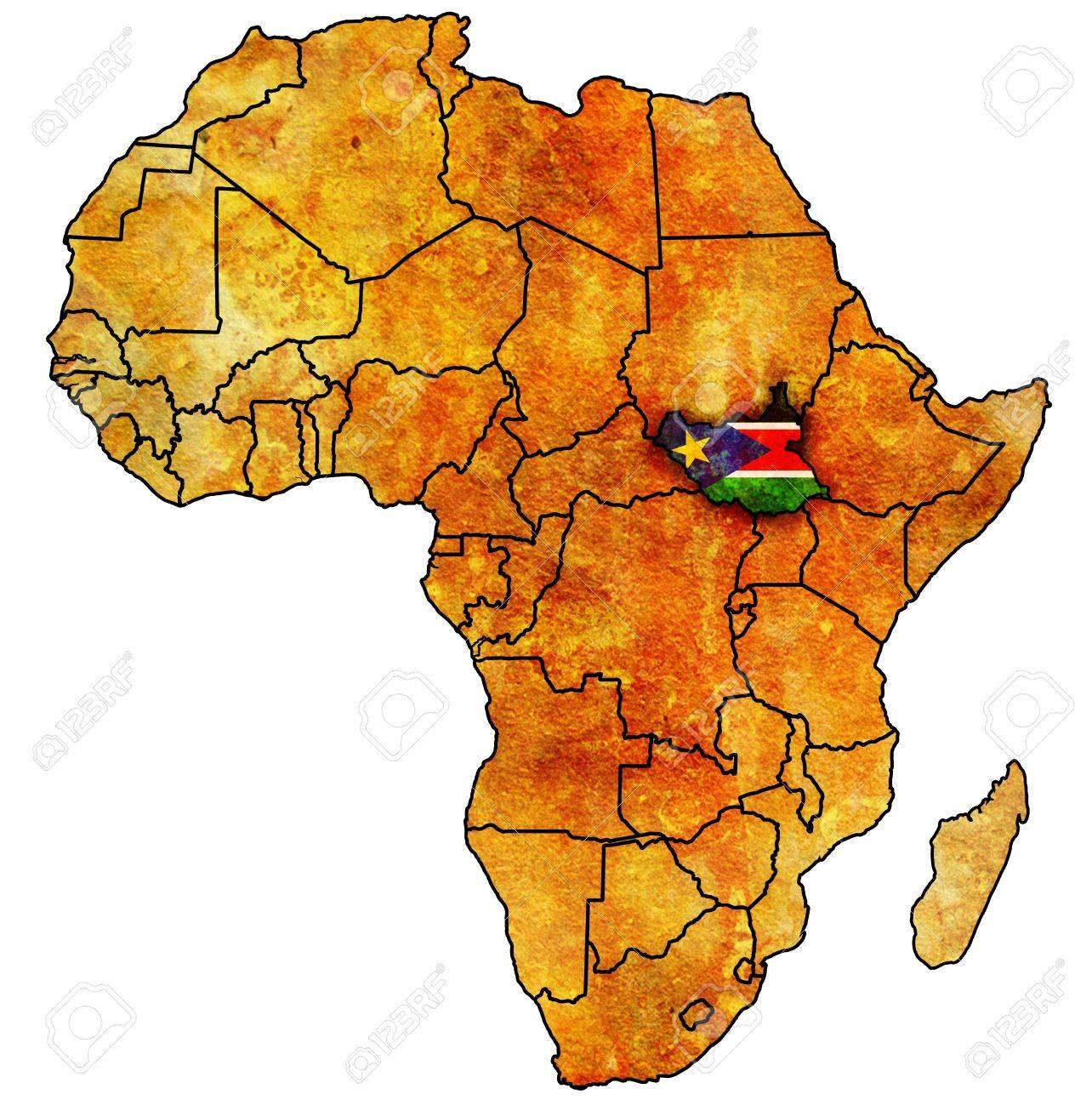 Carte Afrique Avec Soudan Du Sud.Sud Soudan Le Veritable Carte Politique Millesime De L Afrique Avec Des Drapeaux