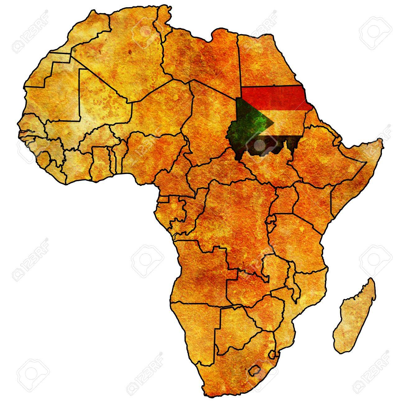 Sudan On Actual Vintage Political Map Of Africa With Flags Stock ...