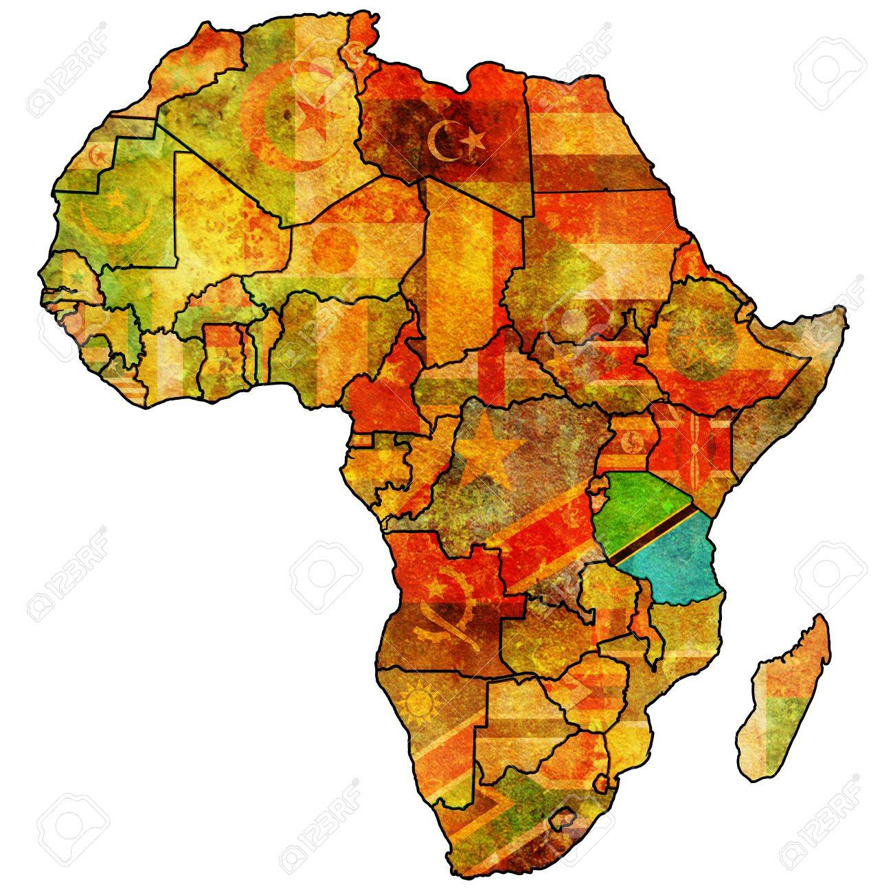 Picture of: Tanzania On Actual Vintage Political Map Of Africa With Flags Stock Photo Picture And Royalty Free Image Image 20531829