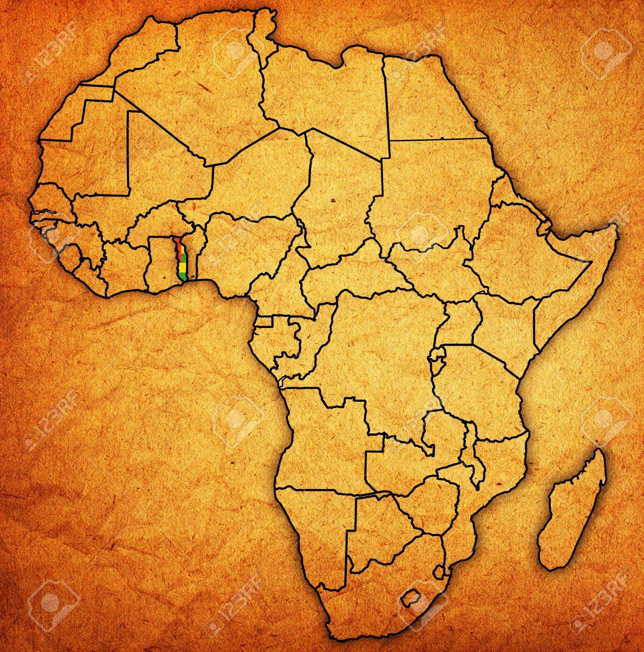 Togo on actual vintage political map of africa with flags stock stock photo togo on actual vintage political map of africa with flags gumiabroncs Images