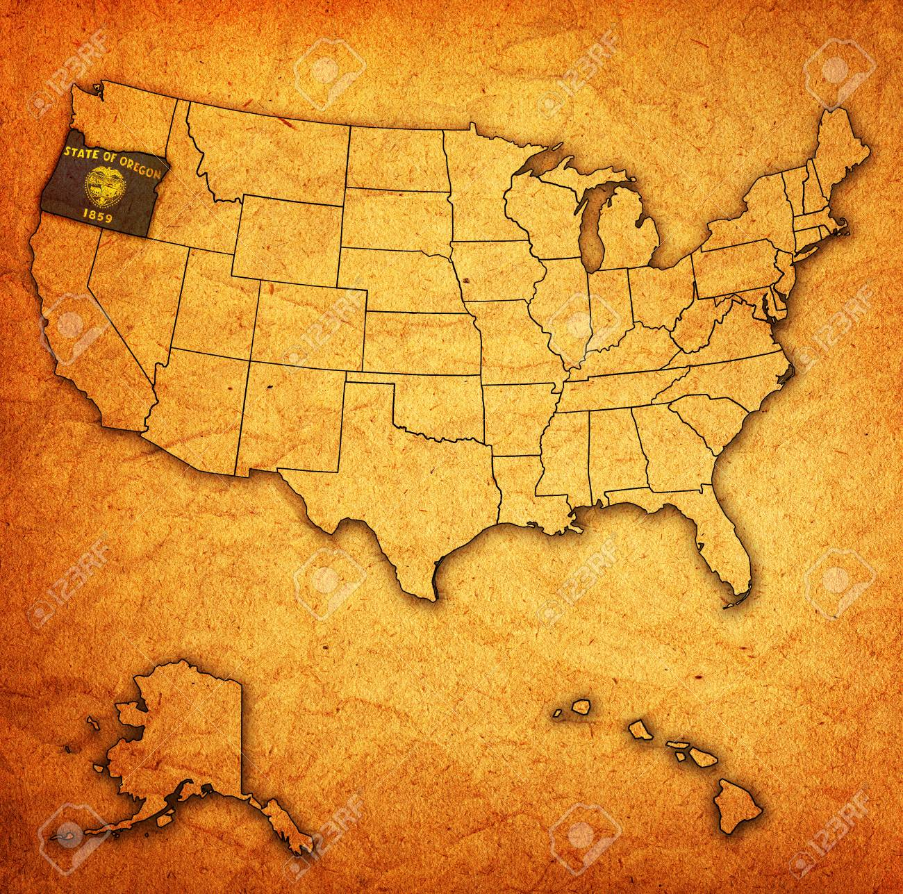 Vintage Oregon Map.Oregon On Old Vintage Map Of Usa With State Borders Stock Photo