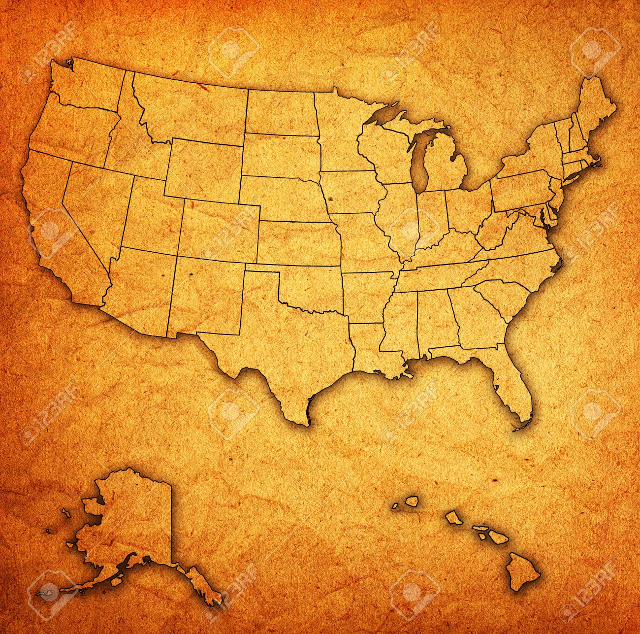 Old Vintage Map Of Usa With State Borders Stock Photo Picture And - Mal of usa