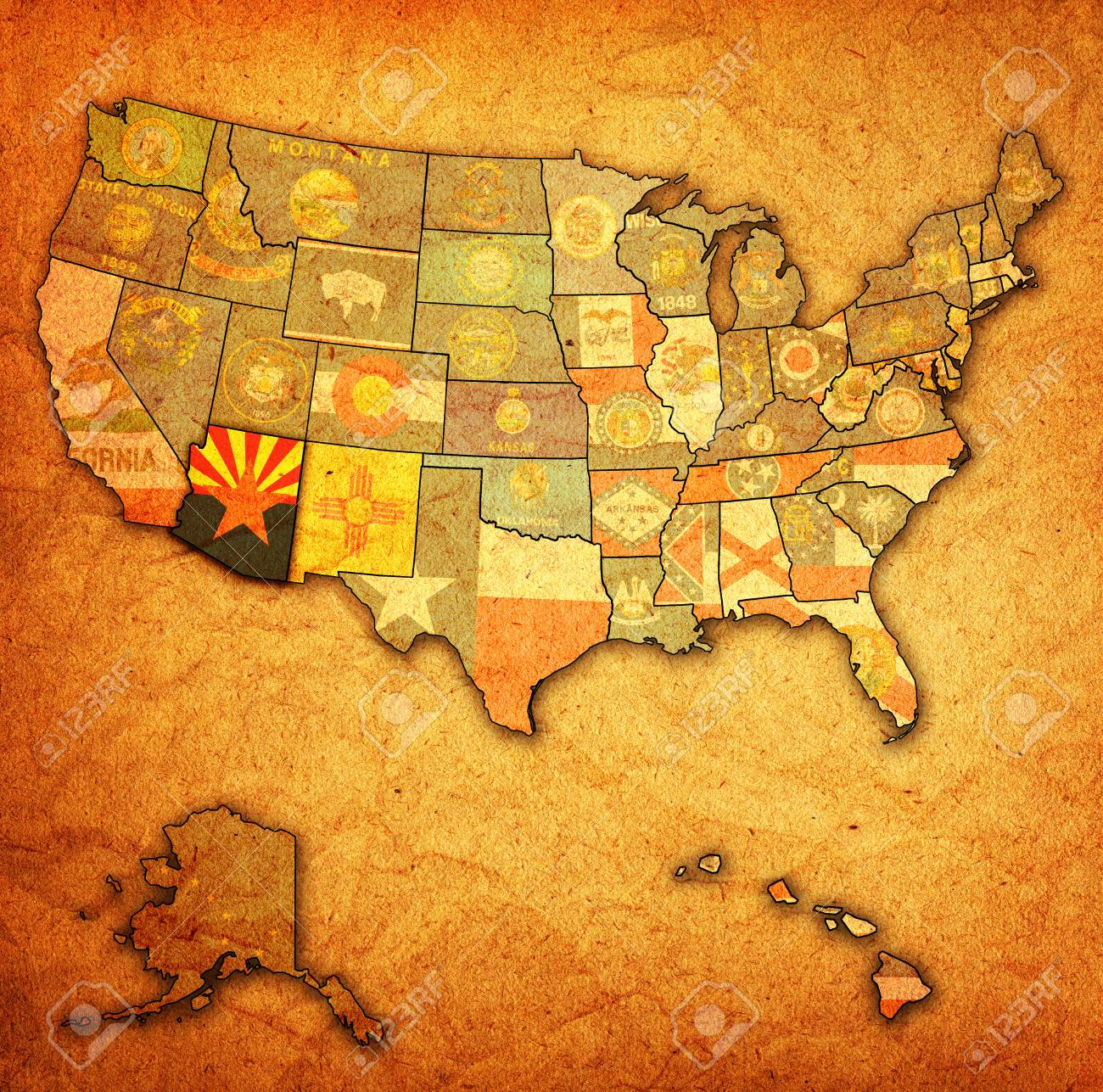 Map Of Old Arizona.Arizona On Old Vintage Map Of Usa With State Borders