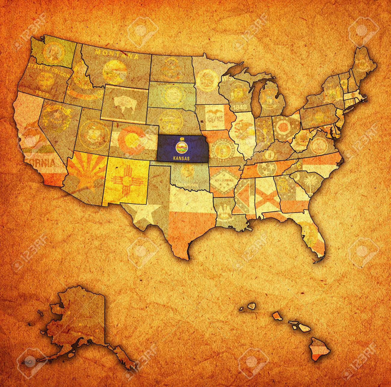 Kansas On Old Vintage Map Of Usa With State Borders Stock Photo 24015577