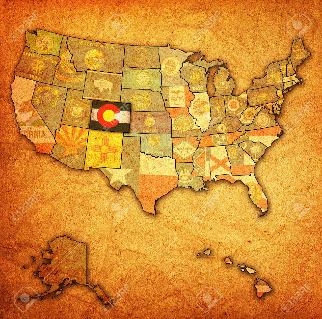 Colorado On Old Vintage Map Of Usa With State Borders Stock Photo - Map of usa where is colorado
