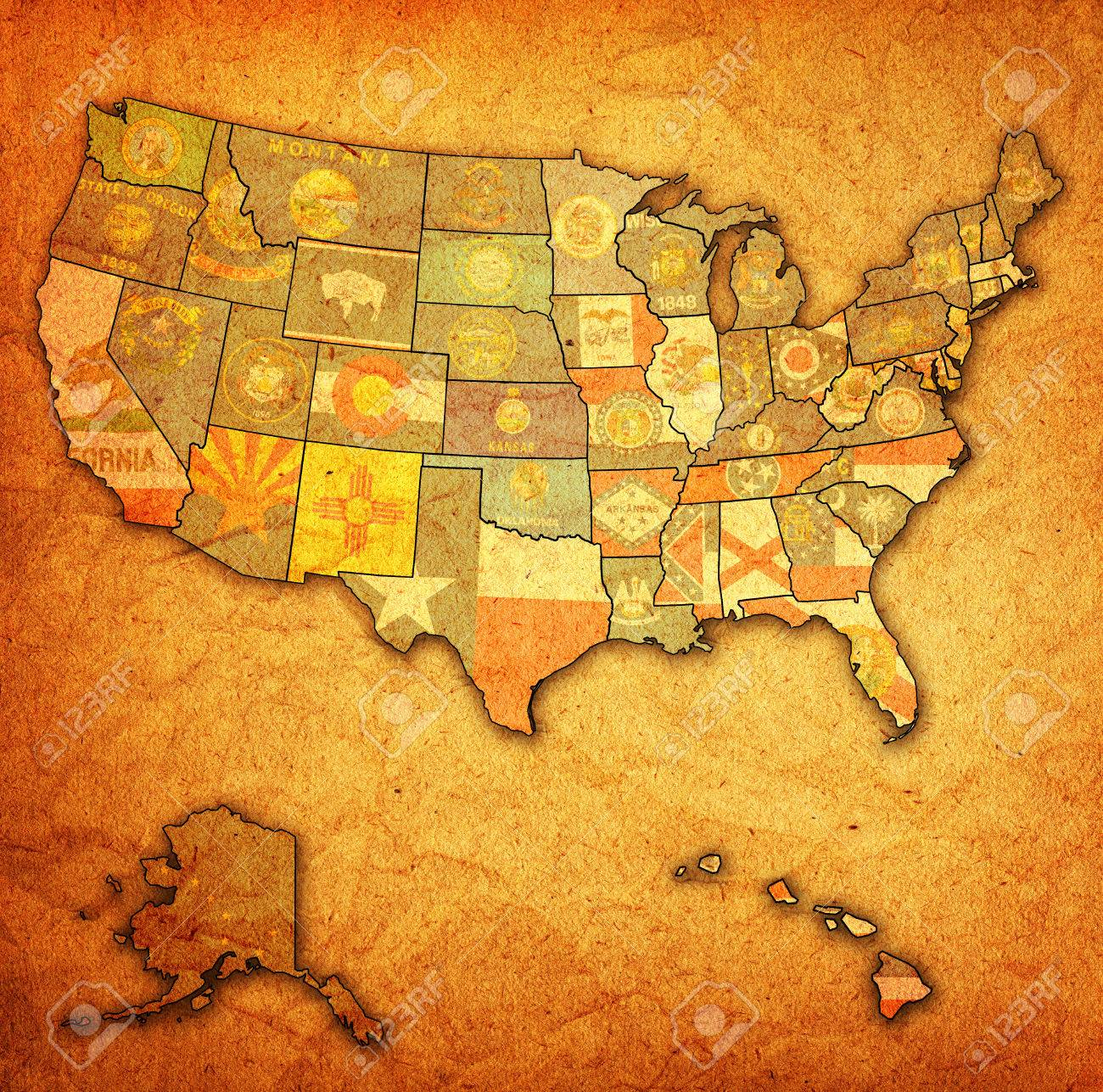 state flags on old vintage map of usa with state borders stock po 24015344