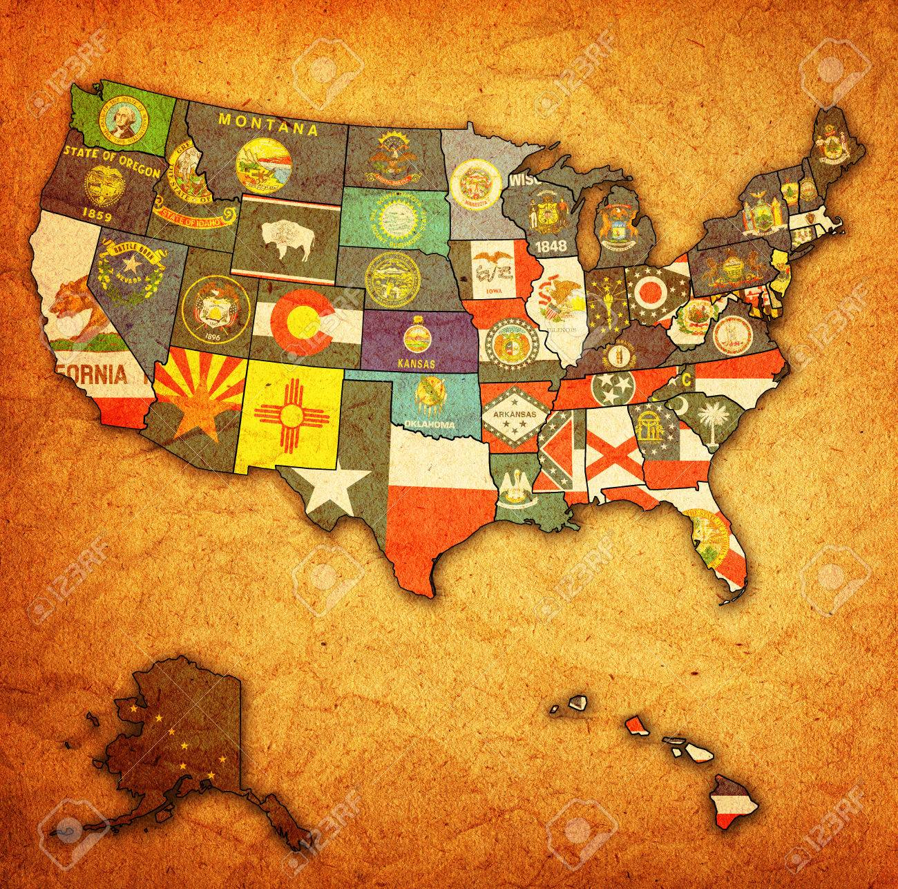 state flags on old vintage map of usa with state borders stock po 24015346